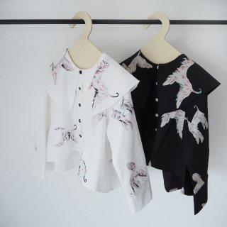 folkmade<br>afghan hound blouse<br>white / black<br>(S,M,L,LL)