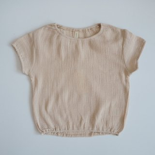QUINCY MAE Drop1<br>cinched woven tee<br>natural(6-12m,12-18m,18-24m)