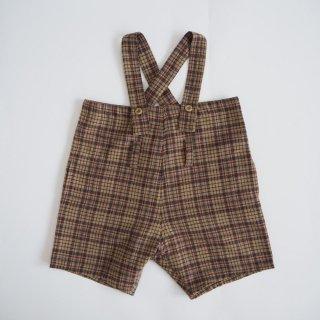 nunuforme<br>wide pants salopette<br>beige×red<br>(95,105,115,125)