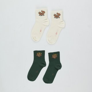 "TINYCOTTONS<br>quarter socks<br>""TINY FOX""cream<br>""TINY DOG""green<br>(2y,4y,6y)"