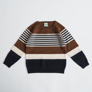 FUB<br>purlstriped blouse<br>umber ecru dark navy<br>(90,100,110,120)