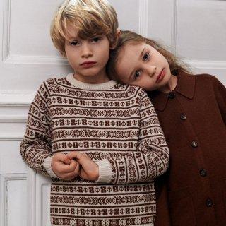 FUB<br>jaquard sweater<br>ecru umber<br>(100,110,120)