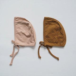 QUINCY MAE Drop1<br>pointelle baby bonnet<br>petal / walnut(6-12m)