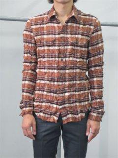 【70%オフ outlet】ポリエステルシルクツイルチェックパッチポケットシャツ/AS22-231*SL【N】#GH*