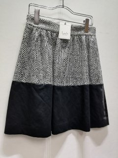 Laula 白×黒変形ドット柄×黒ミックスコントラストスカート/LS14-SK2*SK#US*