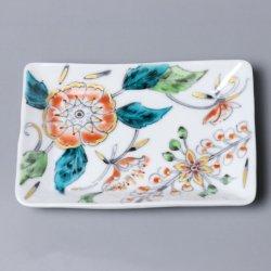 更紗詰め 翡翠 角小皿 [白抜き]|朴木友美