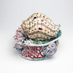 緑サンゴと巻貝 香炉|工藤完子
