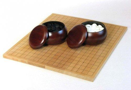 折碁盤・ガラス碁石竹印・プラ碁笥銘木セット