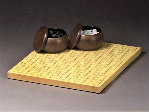 卓上碁盤10号・ガラス碁石竹印・プラ碁笥銘木セット
