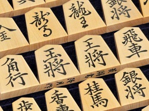 将棋駒 隆月作 彫埋 島黄楊 菱湖書    (送料無料)