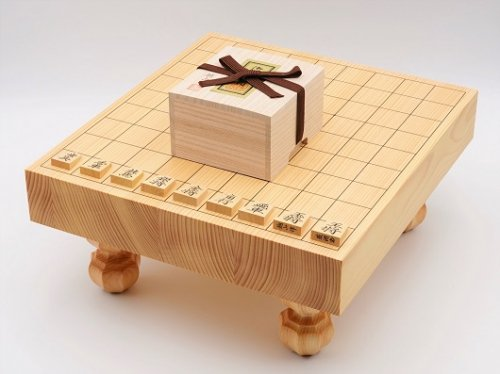 卓上-足付兼用将棋・駒 本つげ 菱湖彫セット(送料無料)