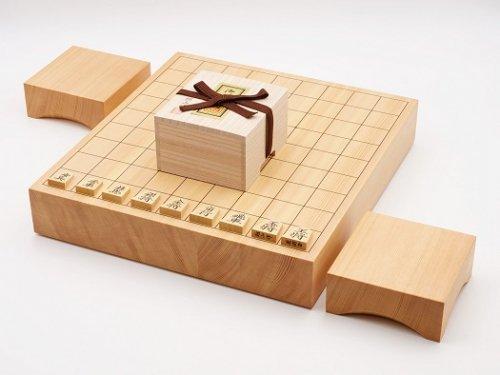 卓上将棋20号・駒 本つげ 菱湖彫・駒台セット  (送料無料)