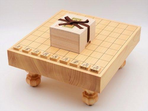 卓上-足付兼用将棋・駒 本つげ 鵞堂彫セット  (送料無料)