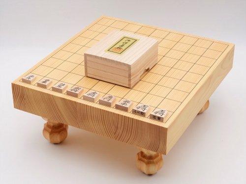 卓上-足付兼用将棋・駒 楓 錦旗書彫セット  (送料無料)