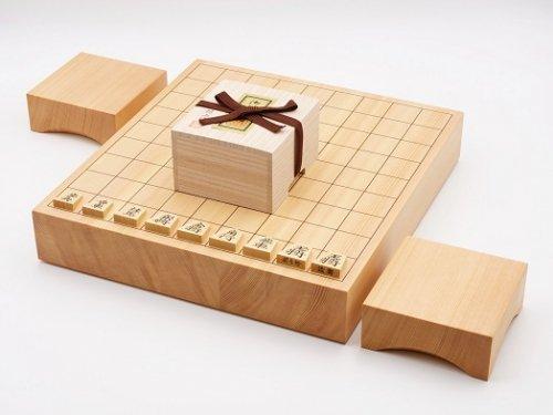 卓上将棋20号・駒 本つげ 錦旗彫・駒台セット  (送料無料)