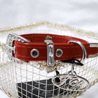 COL17 28 RED エナメル素材 COLLAR