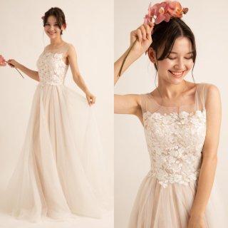 刺繍 テールカット ウエディングドレス(W17)