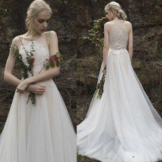 花柄刺繍 シースルー キャミソール ウエディングドレス(W20)