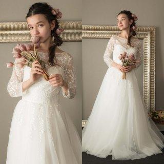 リーフデザイン 七分袖 チュール ウエディングドレス(W29)