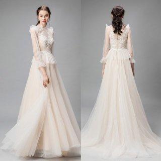 ハイネック ペプラム 刺繍 ウエディングドレス(W41)
