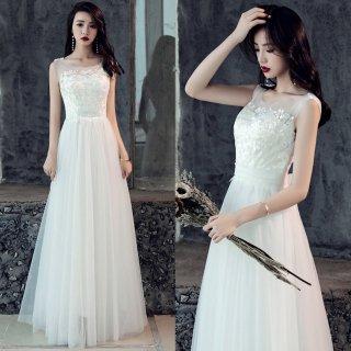 刺繍 バックリボン ウエディングドレス(W75)