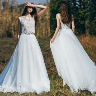 刺繍トップス チュールスカート セパレートドレス(W77)