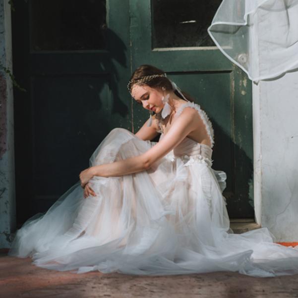 フリル チュール エンパイア ウエディングドレス(W79) , 1万円台からのウエディングドレス♪オーダーメイド、二次会、前撮りドレスならDRESS  PRODUCTION