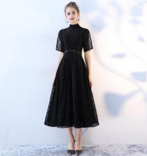 総レース ハイネック ブラック ミモレ丈ドレス(P18)