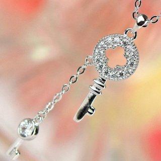 ネックレス レディース ダイヤモンドCZ プラチナ仕上げ シルバー925 フリンジ 鍵モチーフ 一粒 最高級スワロフスキー