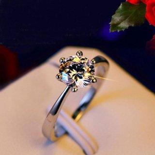 指輪 レディース リング 華奢 6本爪 一粒 ダイヤモンドCZ 18K プラチナRGP