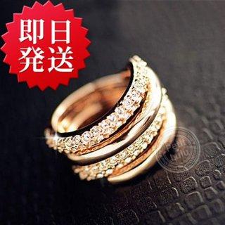 指輪 レディース リング 贅沢2連セット 美指リング ダイヤモンドCZ 18K プラチナRGP レディース アクセサリー