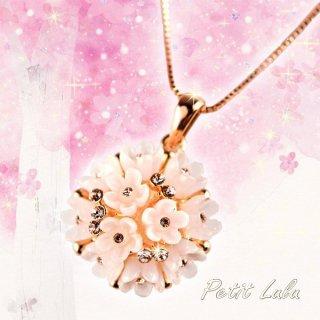 ネックレス レディース 最高級スワロフスキー 桜 さくら 小花 薄いピンク ブーケ k18 18金RGP 18k