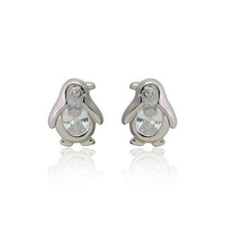 ピアス レディース ペンギン CZダイヤモンド k18 18金RGP 18k キュービット&ハート プチルル