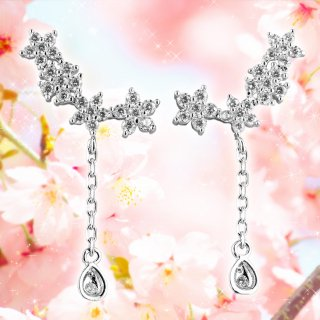ピアス レディース AAA級 ダイヤモンドCZ フラワー 桜 春 フェミニン しずく 揺れる 18KRGP 925銀