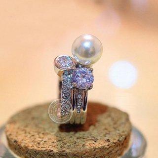 指輪 レディース リング 大粒パール 輝き 豪華 ダイヤモンドCZ 18K プラチナRGP