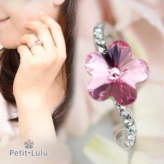 指輪 レディース リング 最高級スワロフスキー 花 フラワー ピンク S字 18金RGP