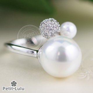 指輪 レディース リング ダイヤモンドCZ パール 真珠 ミラーボール フリーサイズ 18金RGP