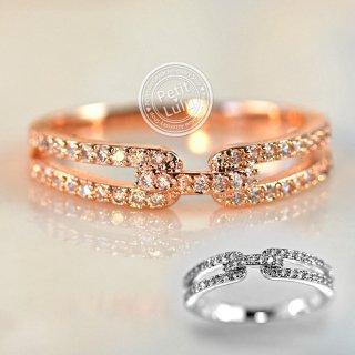 指輪 レディース リング ダイヤモンドCZ ヌーディ— 二連風 華奢 スキンジュエリー 18金RGP 2色展開
