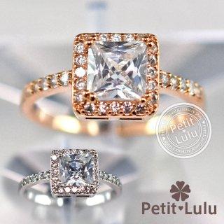指輪 レディース リング ダイヤモンドCZ 大粒 プリンセスカット スクエア 18金RGP 2色展開