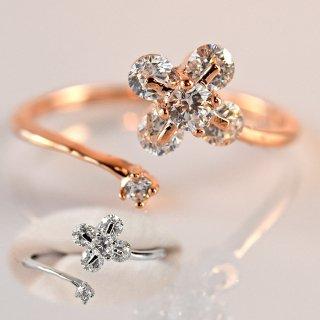 指輪 レディース リング ダイヤモンドCZ フラワー 4枚花 C型リング フォークリング 18金RGP 2色展開