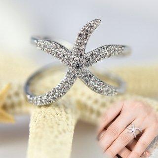 指輪 レディース リング ダイヤモンドCZ スターフィッシュ ヒトデ フリーサイズ 18金RGP