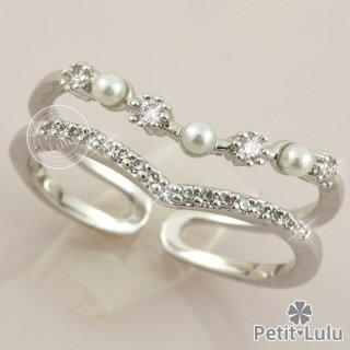 リング 指輪 レディース フリーサイズ 最高級スワロフスキー 2連 パール 真珠 V字 Vライン エレガント k18 18金RGP 18k