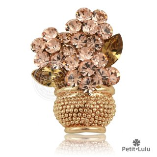 18K ブローチ フラワー 花瓶 カラーストーン 最高級スワロフスキー 人気 RGP プチルル