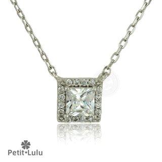 ネックレス レディース ダイヤモンドCZ プラチナ仕上げ シルバー925 プリンセスカット スクエア 最高級スワロフスキー