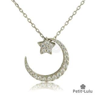 ネックレス レディース ダイヤモンドCZ プラチナ仕上げ シルバー925 月 星 ムーンスター 最高級スワロフスキー