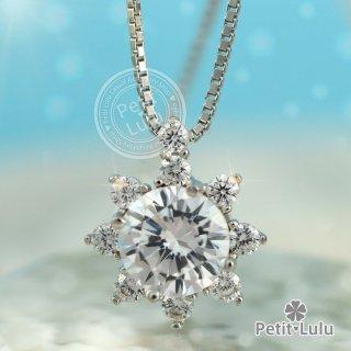 ネックレス レディース ダイヤモンドCZ プラチナ仕上げ シルバー925 花 サンフラワー 向日葵 雪の華 最高級スワロフスキー