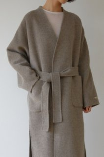 wool 90%<br>hand made no collar coat<br>gray brown