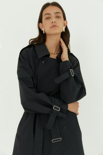 kate double<br>long trench coat<br>dark navy