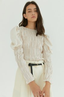 shirring puff blouse<br>ivory