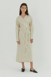 cotton v wrap<br>maxi one piece<br>ivory